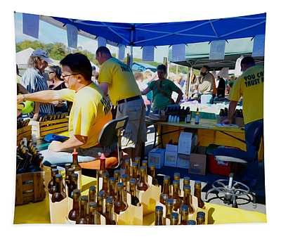 A Vendor At The Garlic Fest Offers Garlic Vinegar And Olive Oil For Sale Tapestry