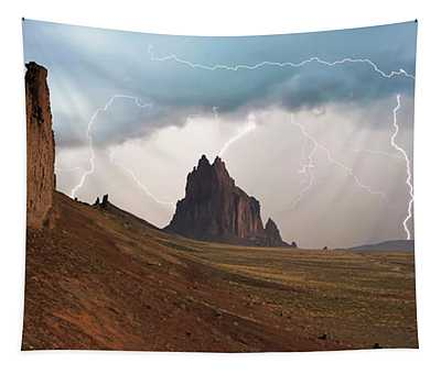 A Violent Thunderstorm At Shiprock, New Mexico Tapestry