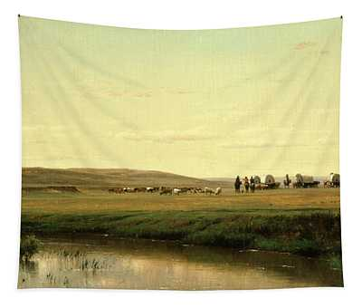 A Wagon Train On The Plains Tapestry