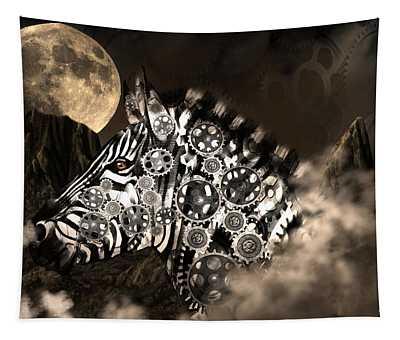 A Wild Steampunk Zebra Tapestry
