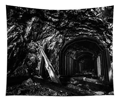 Abandoned Railroad Tunnel Black And White Tapestry