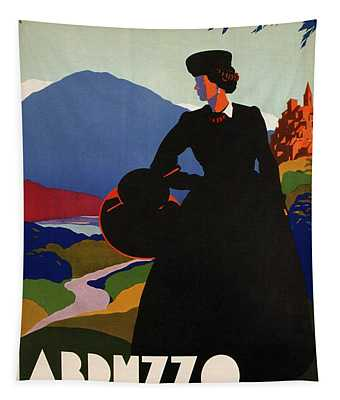 Abruzzo, Italy - Girl In Black Gown - Retro Travel Poster - Vintage Poster Tapestry
