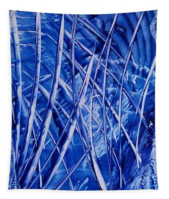 Abstract Blues Encaustic Tapestry