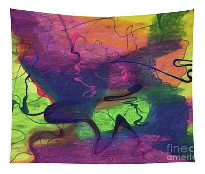 Colorful Abstract Cloud Swirling Lines Tapestry