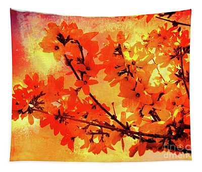 Abstract Forsythia Flowers Tapestry