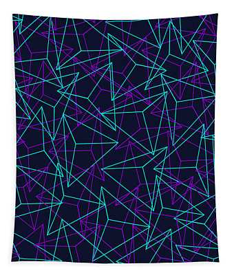 Abstract Geometric 3d Triangle Pattern In Turquoise Purple Tapestry