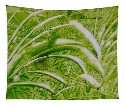 Abstract Green And White Leaves And Grass Tapestry