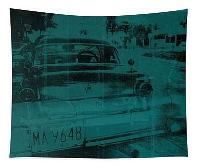 Abstract Green Car Tapestry