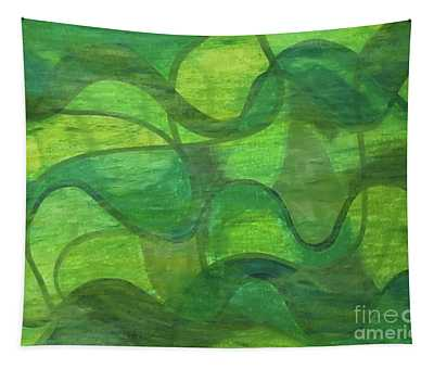 Abstract Green Wave Connection Tapestry