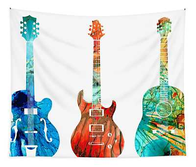 Abstract Guitars By Sharon Cummings Tapestry