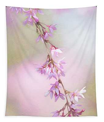 Abstract Higan Chery Blossom Branch Tapestry