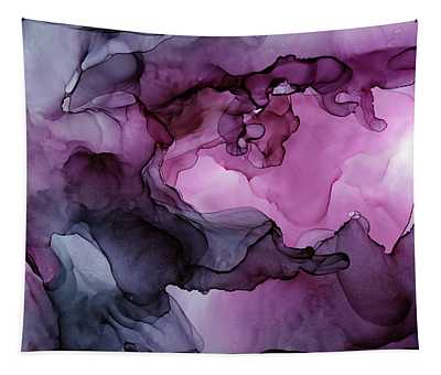 Abstract Ink Painting Plum Pink Ethereal Tapestry