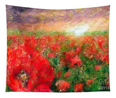 Abstract Landscape Of Red Poppies Tapestry
