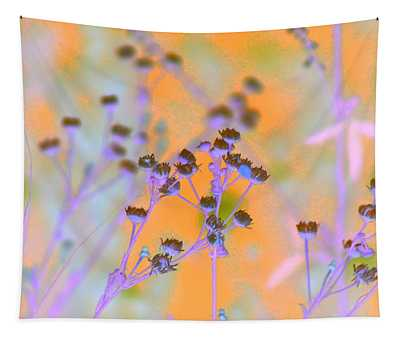 Abstract Mandarin And Periwinkle Wildflowers Tapestry