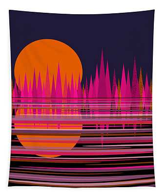 Abstract Moonrise In Pink Tapestry