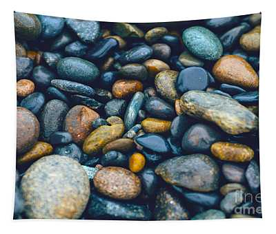 Abstract Nature Tropical Beach Pebbles 923 Blue Tapestry