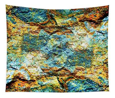 Abstract Nature Tropical Beach Rock Blue Yellow And Orange Macro Photo 472 Tapestry