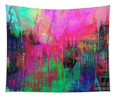 Abstract Painting 621 Pink Green Orange Blue Tapestry