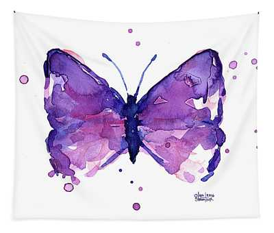Abstract Purple Butterfly Watercolor Tapestry