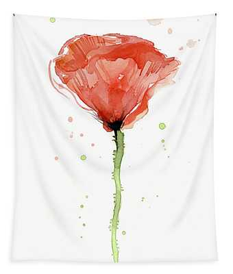 Abstract Red Poppy Watercolor Tapestry