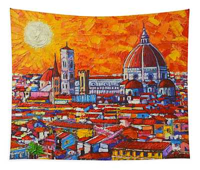 Abstract Sunset Over Duomo In Florence Italy Tapestry