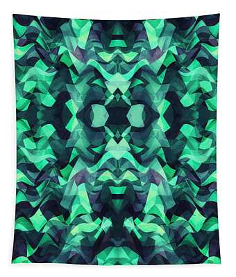 Abstract Surreal Chaos Theory In Modern Poison Turquoise Green Tapestry
