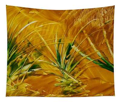 Abstract Yellow, Green Fields   Tapestry