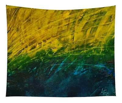 Abstract Yellow, Green With Dark Blue.   Tapestry