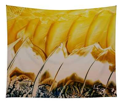 Abstract Yellow, White Waves And Sails Tapestry