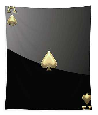 Ace Of Spades In Gold On Black   Tapestry