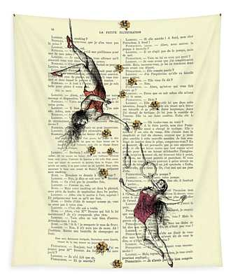 Acrobatics Women Circusact Vintage Illustration On Book Page Tapestry