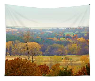 Tapestry featuring the digital art Across The River In Autumn by Shelli Fitzpatrick