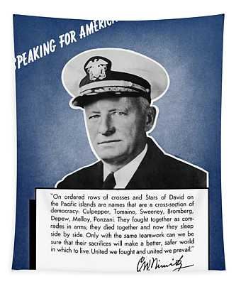 Admiral Nimitz Speaking For America Tapestry