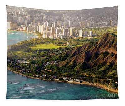 Aerial - Diamond Head Crater - City Of Honolulu, Waikiki, Hawaii  Tapestry