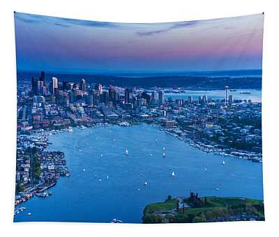 Aerial Seattle And Lake Union Tapestry