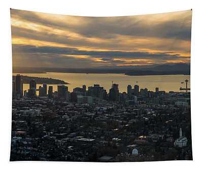 Aerial Seattle Skyline Panorama Looking West Tapestry