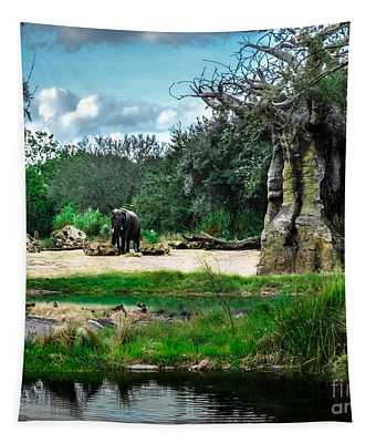 Tapestry featuring the photograph African Bush Elephant Playground by Gary Keesler
