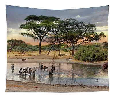 African Safari Wildlife At The Waterhole Tapestry