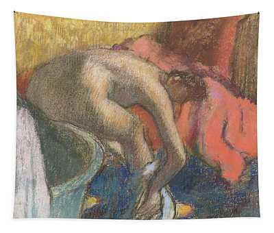 After The Bath, Woman Drying Her Leg   The Red Robe Tapestry