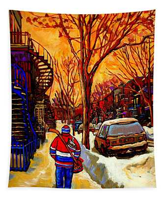 After The Hockey Game A Winter Walk At Sundown Montreal City Scene Painting  By Carole Spandau Tapestry