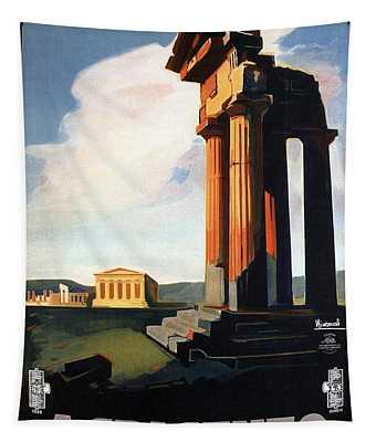 Agrigento, Sicily, Italy - Retro Travel Poster - Vintage Poster Tapestry