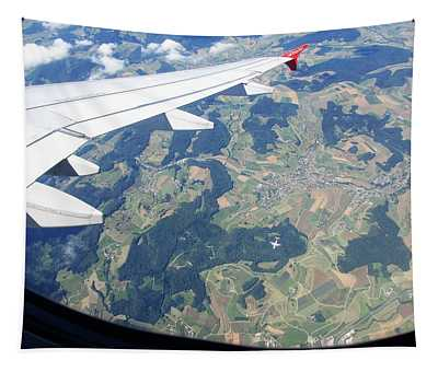 Air Berlin Over Switzerland Tapestry