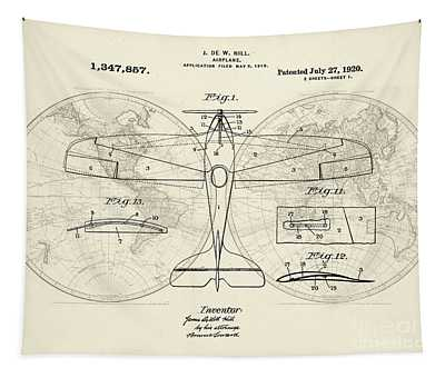 Airplane Patent Collage Tapestry