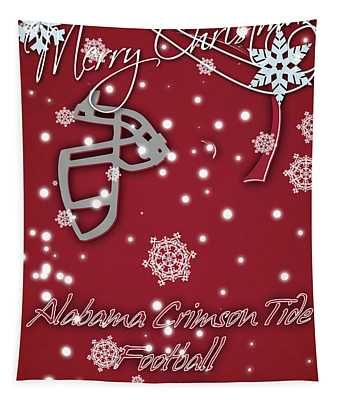 Alabama Crimson Tide Christmas Card 2 Tapestry