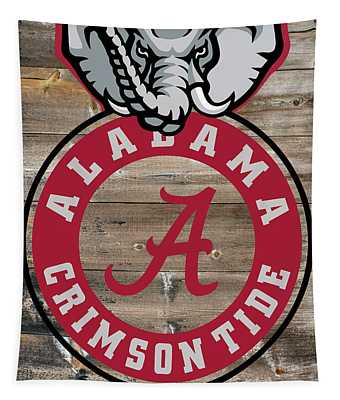 Alabama Crimson Tide On Barnwood Tapestry