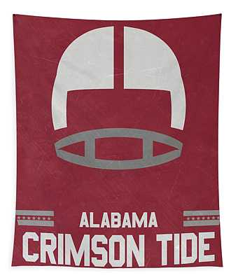 Alabama Crimson Tide Vintage Football Art Tapestry