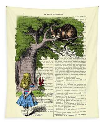 Alice In Wonderland And Cheshire Cat Tapestry
