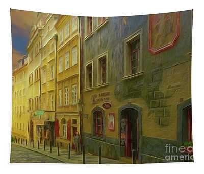 All Downhill From Here - Prague Street Scene Tapestry