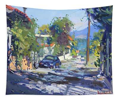 Alleyway By Lida's House Greece Tapestry