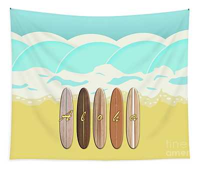 Aloha Surf Wave Beach Tapestry